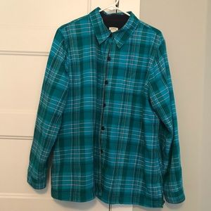 LL Bean Fleece Lined Flannel Shirt L